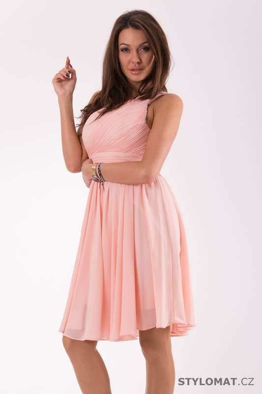3b24e6b29b90 Krátké společenské šaty na jedno rameno růžové - Eva Lola - Šaty do ...
