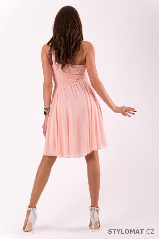 3c255bee3c05 Krátké společenské šaty na jedno rameno růžové - Eva Lola - Šaty do ...
