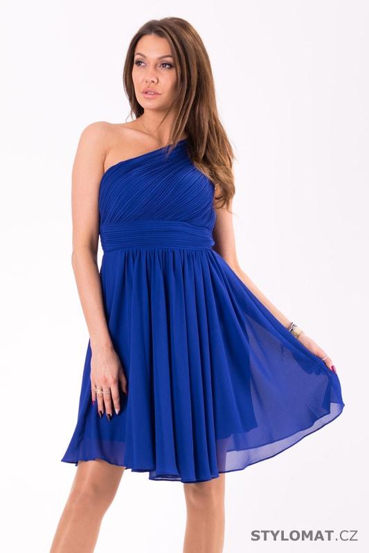 db0b70480426 Krátké společenské šaty na jedno rameno modré - Eva Lola - Krátké ...
