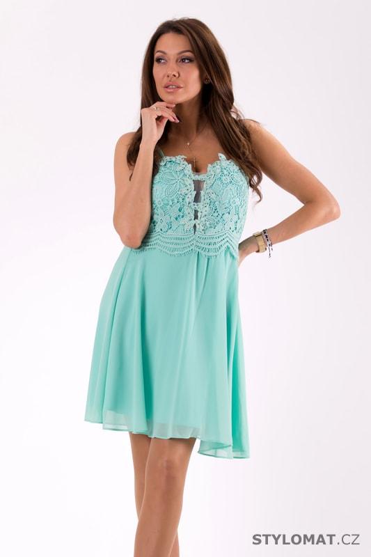 069e7dee0448 Šaty na ramínka s krajkou mint - Eva Lola - Krátké společenské šaty