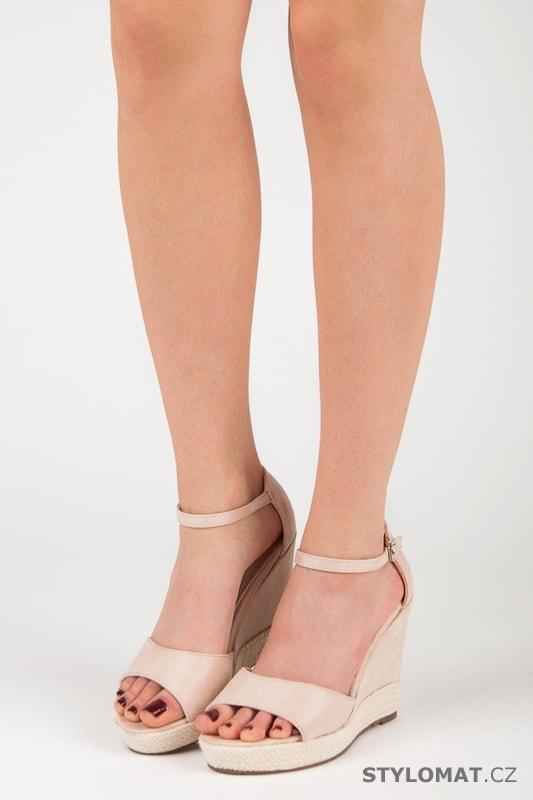 055c21a2a65d Semišové sandály na klínu béžové - SEASTAR - Sandále