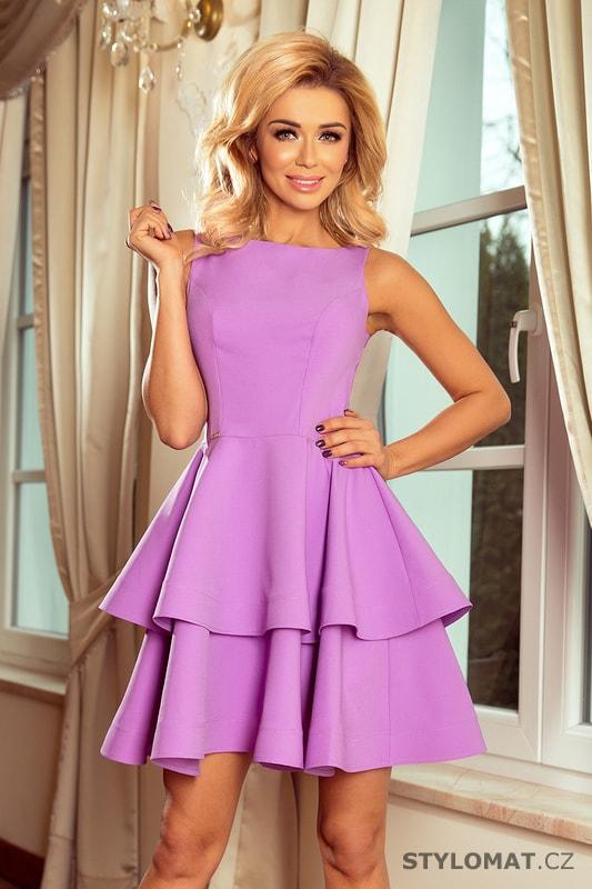 39bdcc5cff3d Šaty s širokou sukní světle fialové - Numoco - Krátké společenské šaty