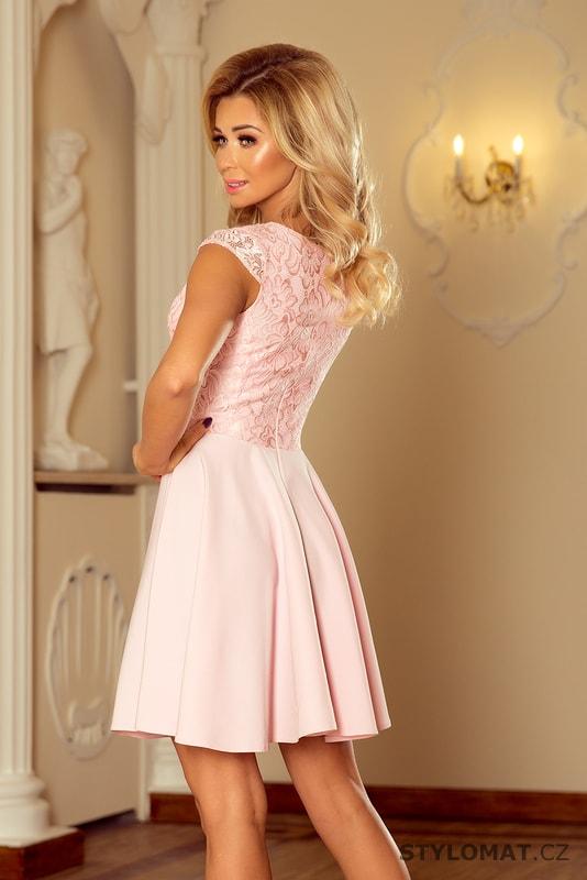 b5cfce8b0d9f Šaty s krajkou světle růžové - Numoco - Krátké společenské šaty