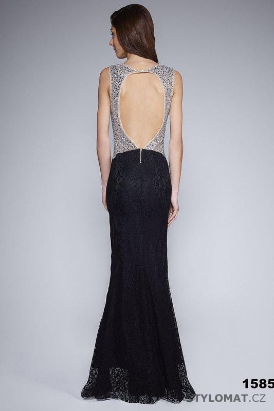 4aae5f4b92d2 Večerní šaty se zdobenými zády černé - Soky Soka - Dlouhé ...