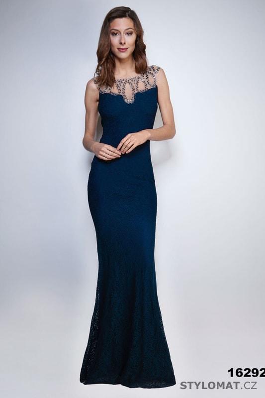 3c32c807089a Večerní šaty s výstřihem na zádech modré - Soky Soka - Dlouhé ...
