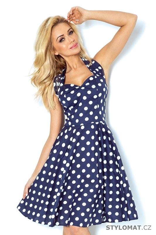 7c0ec141bb76 Rockabilly pin up šaty modré s bílými puntíky a knoflíky - Numoco - Šaty do  tanečních