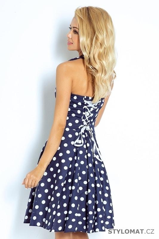 a36a15ef9815 ... Rockabilly pin up šaty modré s bílými puntíky a knoflíky. Previous  Next