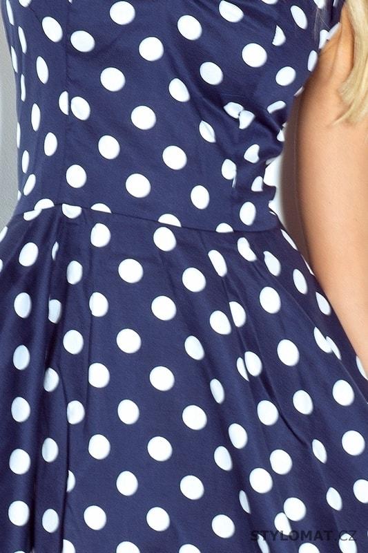 cd71ef0b19c5 Rockabilly pin up šaty modré s bílými puntíky a knoflíky - Numoco ...