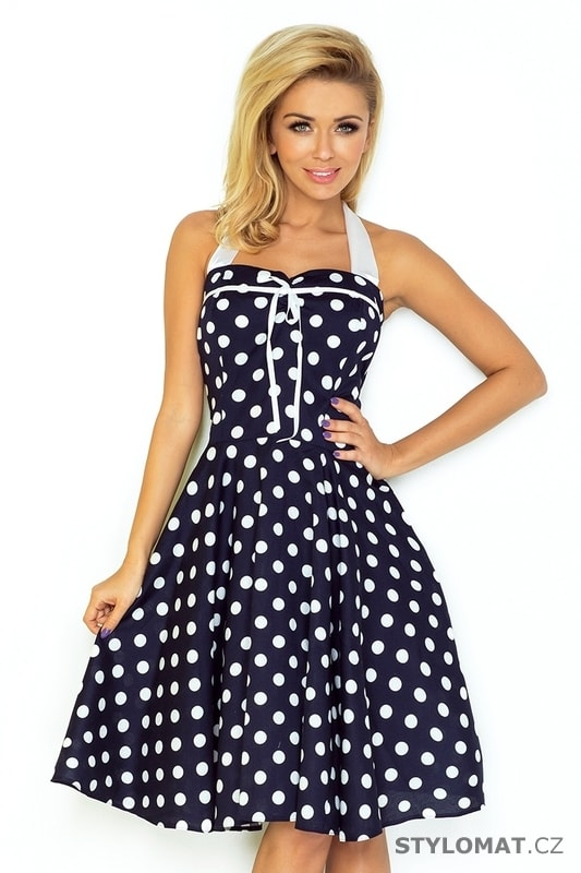 6f42a1aa07 Rockabilly pin up šaty tmavě modré s bílými puntíky – bez korzetu - Numoco  - Krátké letní šaty