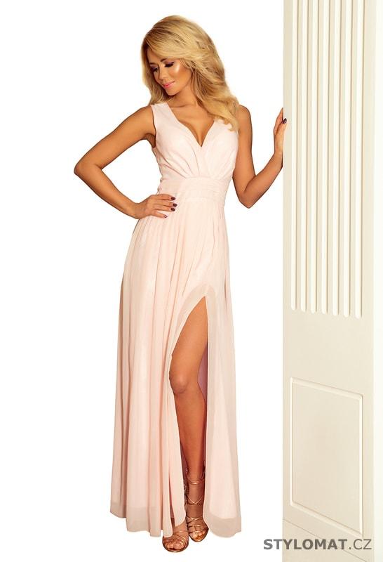 6cfaaa1496de Maxi šifonové šaty s rozparkem pudrové - Numoco - Dlouhé společenské šaty