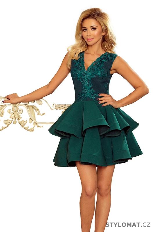 982209157655 Exkluzivní šaty s krajkovým výstřihem zelené - Numoco - Krátké společenské  šaty