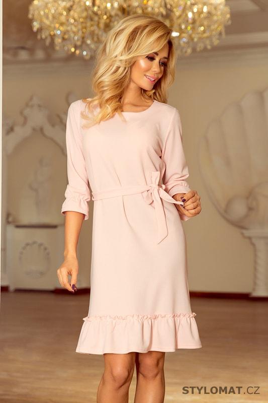 6135af4c4703 Šaty s volánky a páskem pastelově růžové - Numoco - Elegantní a business  šaty
