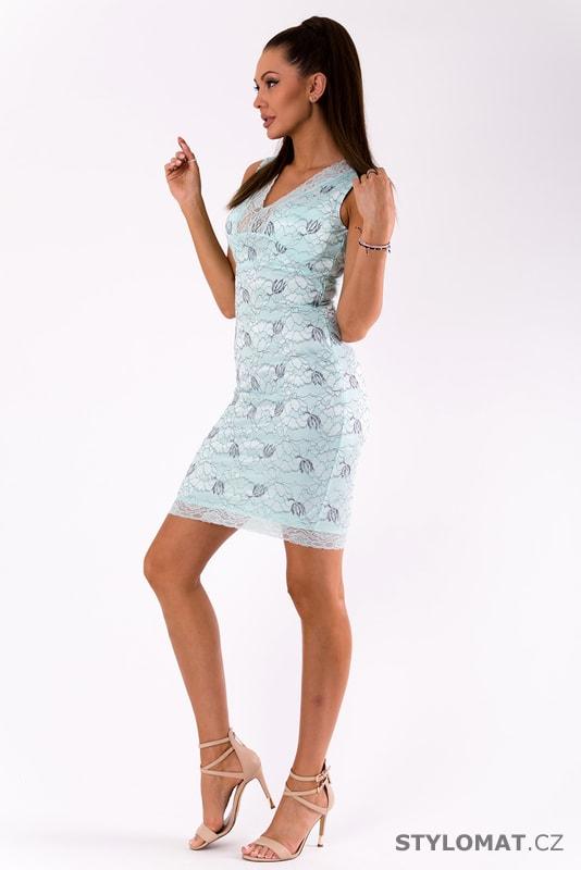 84b511ce43ee Krajkové světle mátové šaty - Emamoda - Krátké letní šaty