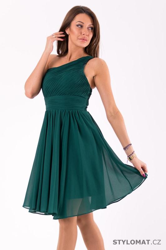 a540f0a74f00 Krátké společenské šaty na jedno rameno petrolejové. Zvětšit. Previous  Next
