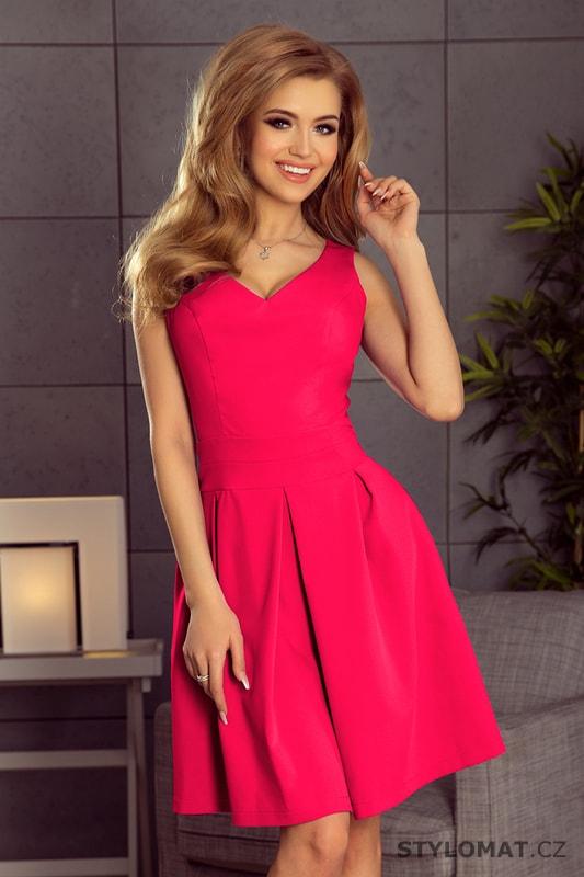 ff5071d82 Šaty se zajímavým výstřihem a kapsami malinové - Numoco - Krátké letní šaty