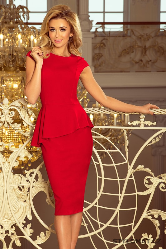 e7d7999de8d2 Elegantní midi šaty s volánem červené - Numoco - Elegantní a business šaty