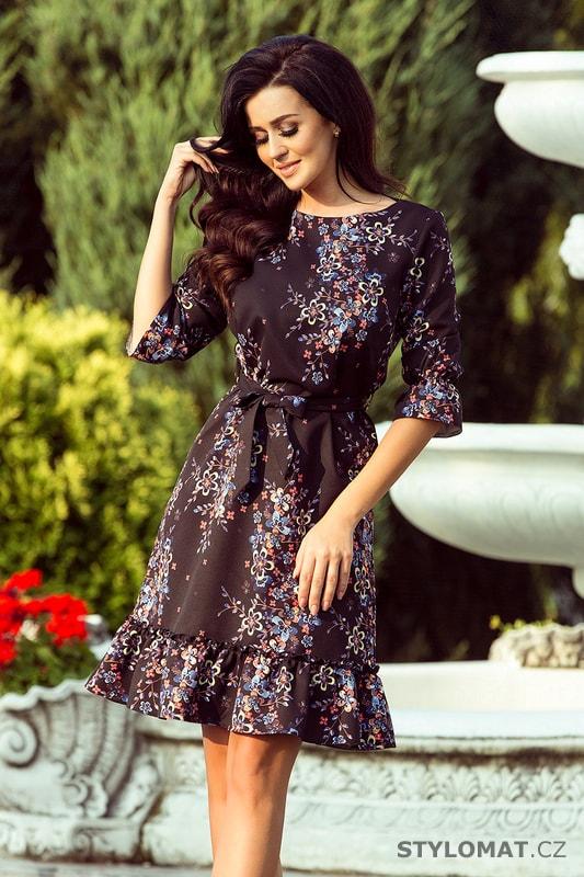 445dcc9c1e6c Romantické dámské šaty s volánky černé s barevnými květy - Numoco - Krátké  společenské šaty