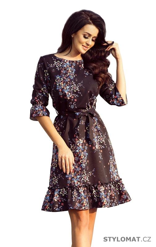 508e2bb3623f Romantické dámské šaty s volánky černé s barevnými květy. Zvětšit.  Previous  Next