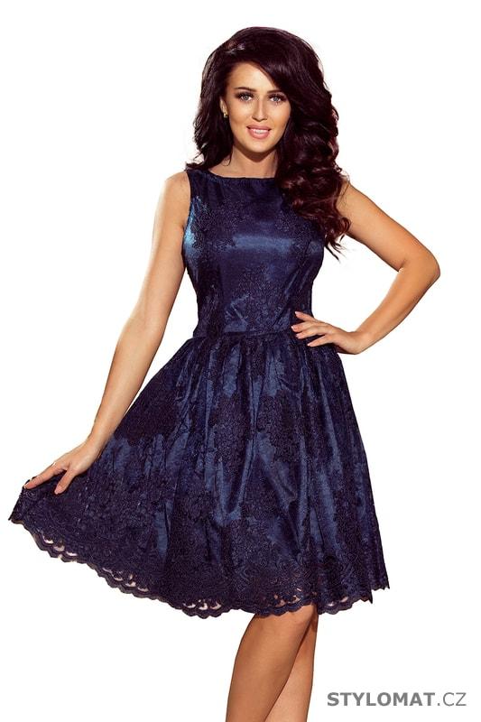 6223eae6b60d Exkluzivní plesové šaty s širší sukní tmavě modré - Numoco - Krátké  společenské šaty