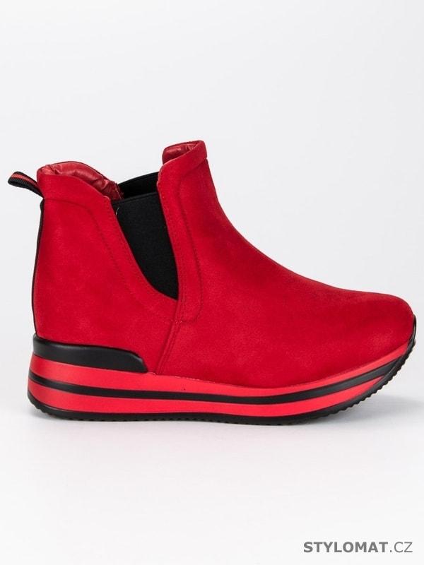 c820dd0952 Červené pérka na platformě - BESTELLE - Kotníčkové boty