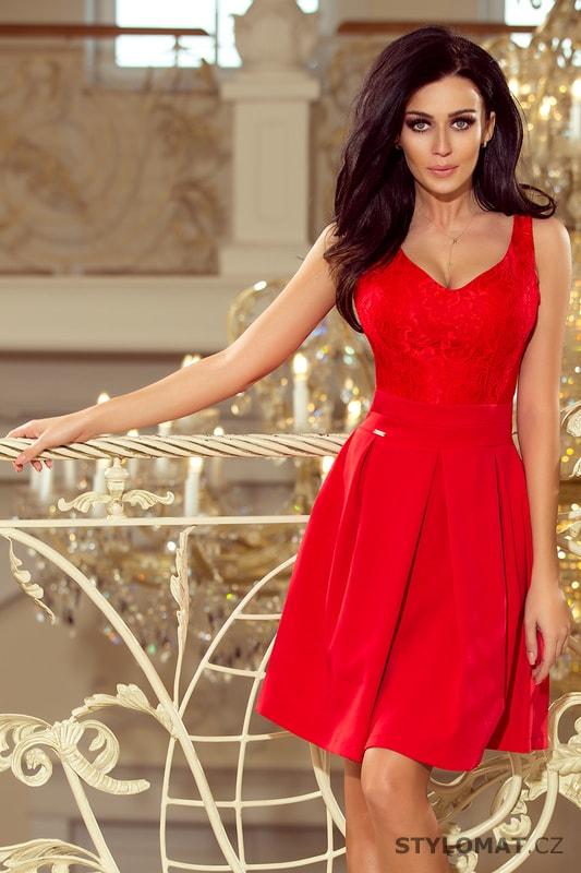 ea1a7b6cb324 Červené plesové šaty s krajkovým výstřihem - Numoco - Krátké společenské  šaty