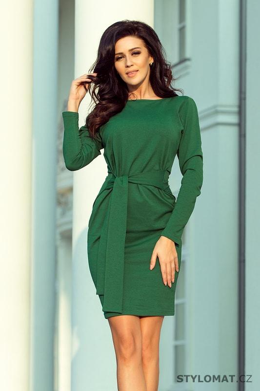 403686e1e99c Dámské zelené šaty s výrazným páskem - Numoco - Jarní šaty