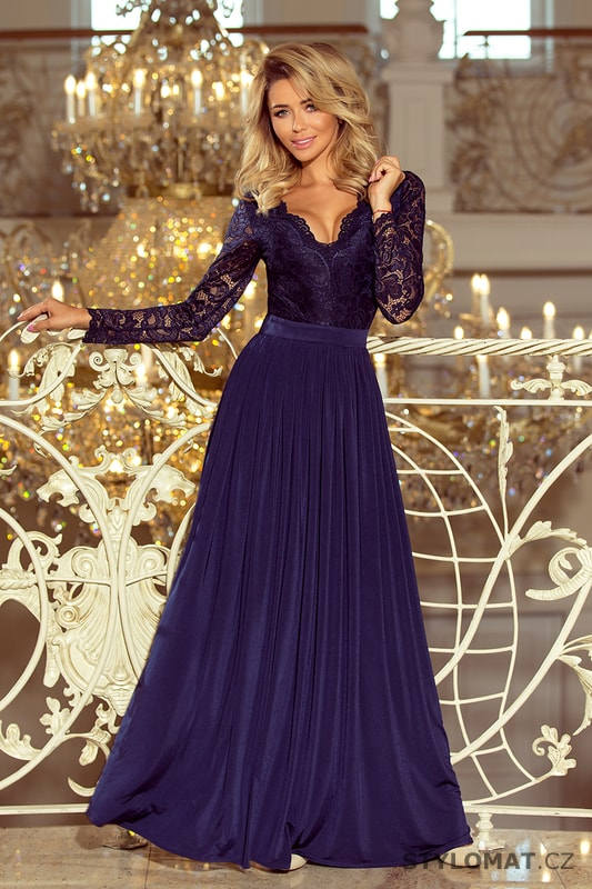 730efbc602f8 Exklusivní plesové šaty s krajkou tmavě modré - Numoco - Dlouhé společenské  šaty