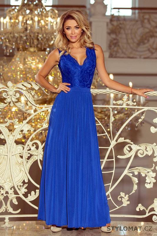 1d9e0d05a52b Modré maxi šaty bez rukávů s krajkovým výstřihem - Numoco - Dlouhé společenské  šaty