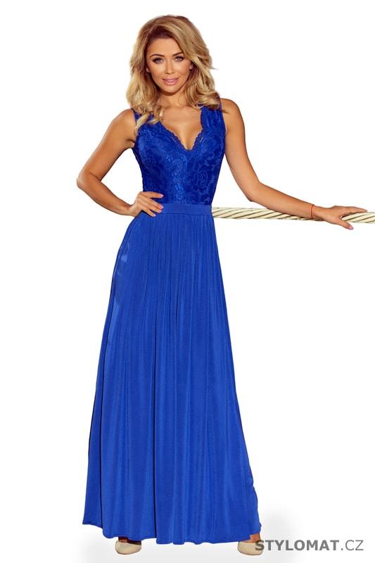 8e6834245f57 Modré maxi šaty bez rukávů s krajkovým výstřihem. Zvětšit. Previous  Next