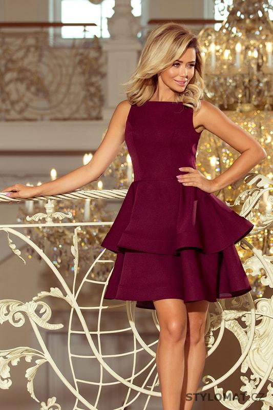 f7fb13a1ff23 Bordó šaty se širokou sukní - Numoco - Krátké společenské šaty