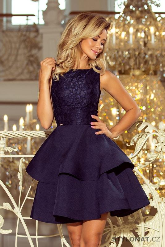 4875f9c9fcf0 Krajkové šaty tmavě modré - Numoco - Krátké společenské šaty