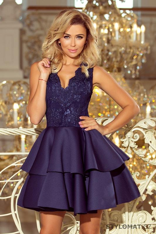 54204251267b Exkluzivní šaty s krajkovým výstřihem námořnicky modré - Numoco - Krátké  společenské šaty