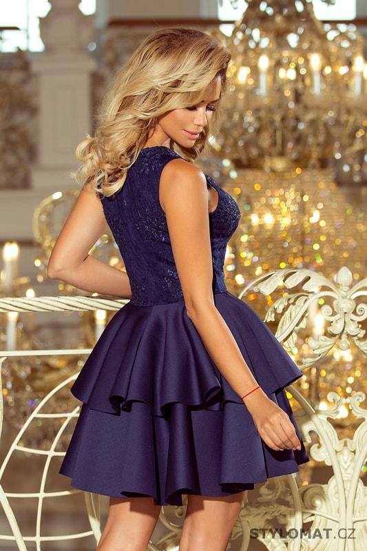 b3b413b25208 Exkluzivní šaty s krajkovým výstřihem námořnicky modré - Numoco ...