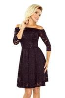 4e7d802eb574 Šaty s holými rameny a černou krajkou