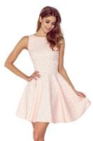 ea5a188ced53 Šaty s kolovou sukní a lodičkovým výstřihem v broskvové barvě