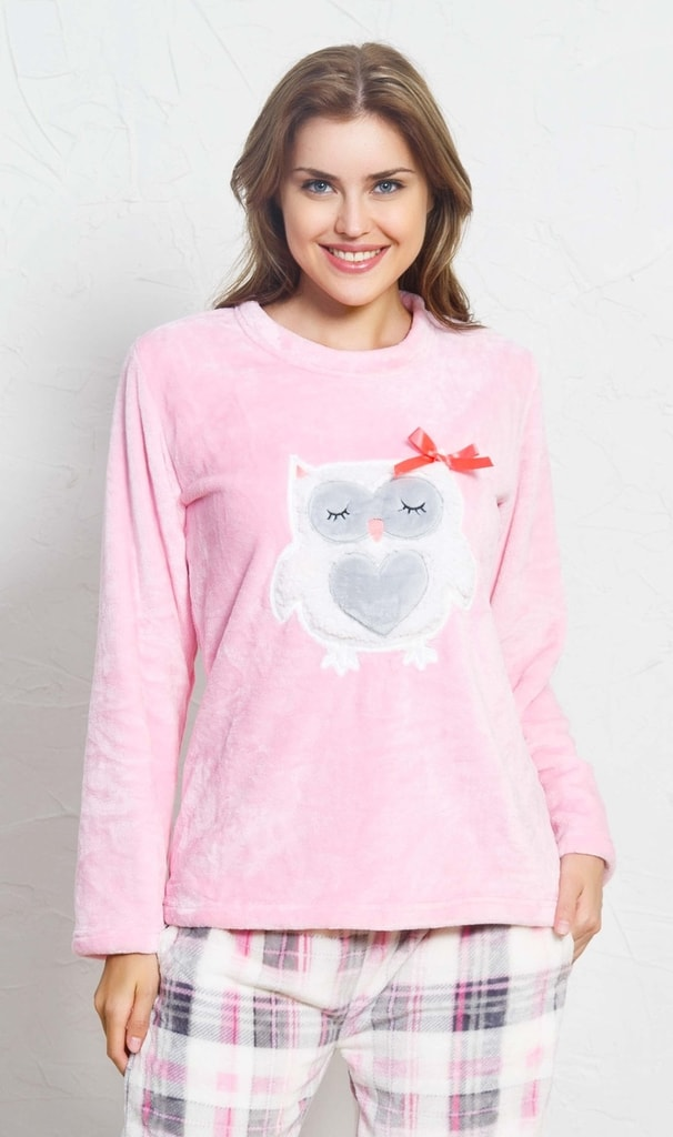 5246e01002c9 Dámské pyžamo dlouhé Sova s mašlí - světle růžová
