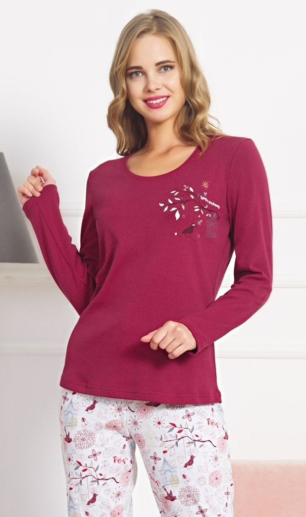 9455f7c29 Dámské pyžamo dlouhé Bird - vínová | Vienetta Secret | dlouhá pyžama ...