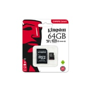 64GB microSDXC Kingston CL10 UHS-I 80R + SD adap.