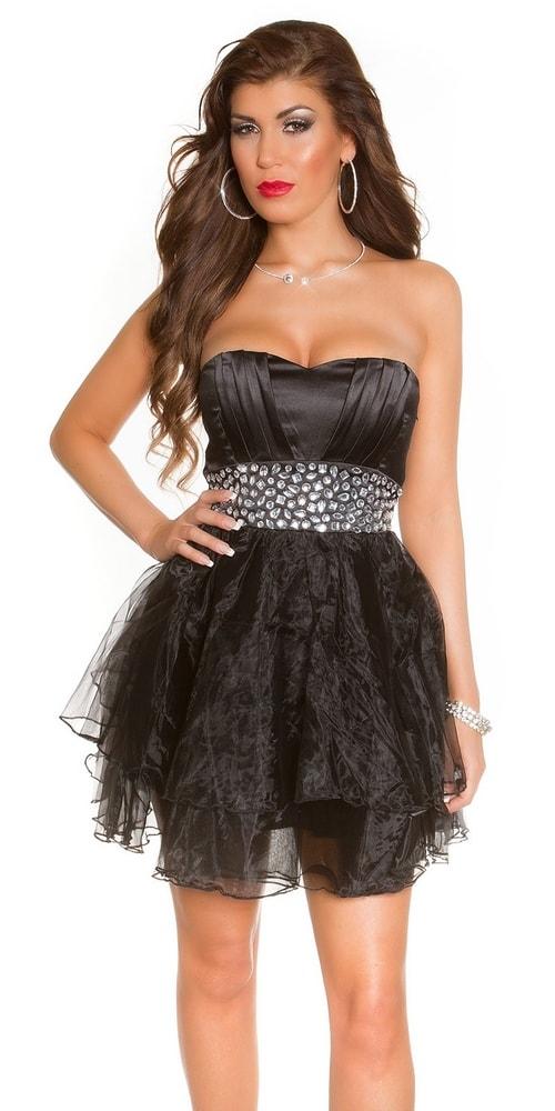 Spoločenské šaty krátke čierne - 36 Koucla in-sat1010bl