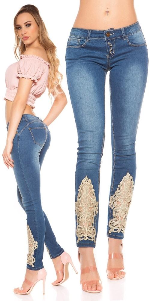 Dámske džínsy s čipkou Koucla in-ri1482