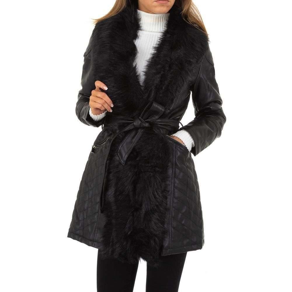 Dámsky koženkový kabát - L/40 EU shd-bu1172bl
