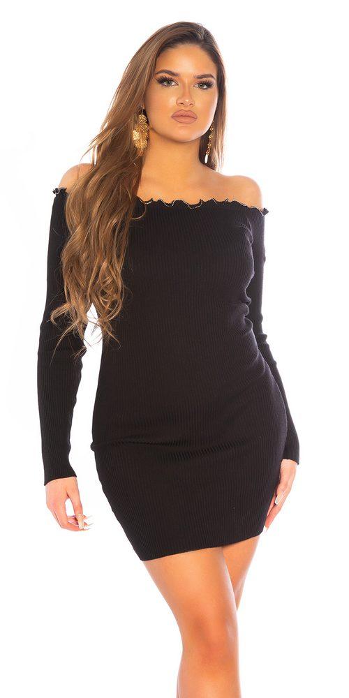 Černé šaty z úpletu Koucla in-sat2261bl