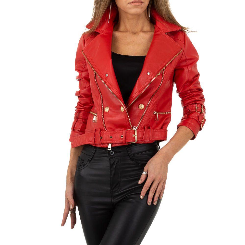 Červená koženková bunda dámská - L/40 shd-bu1282re