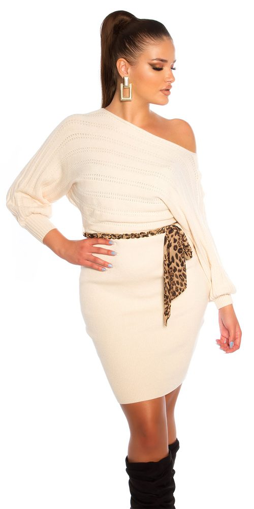 Dámské úpletové šaty s páskem Koucla in-sat2243wh