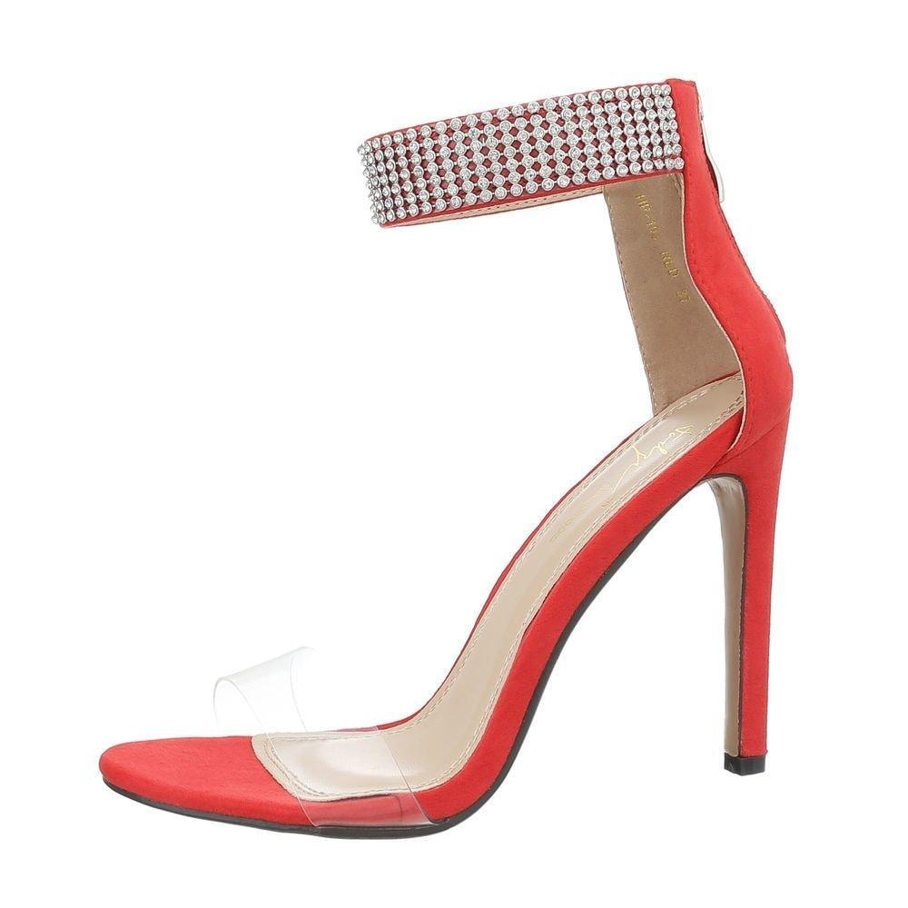 Společenské červené sandálky - 40 shd-osa1089re