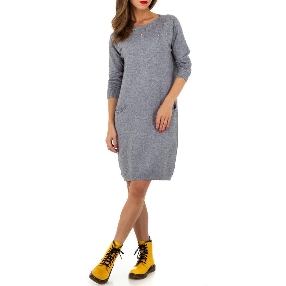 Úpletové šaty s perličkami shd-sat1257gr