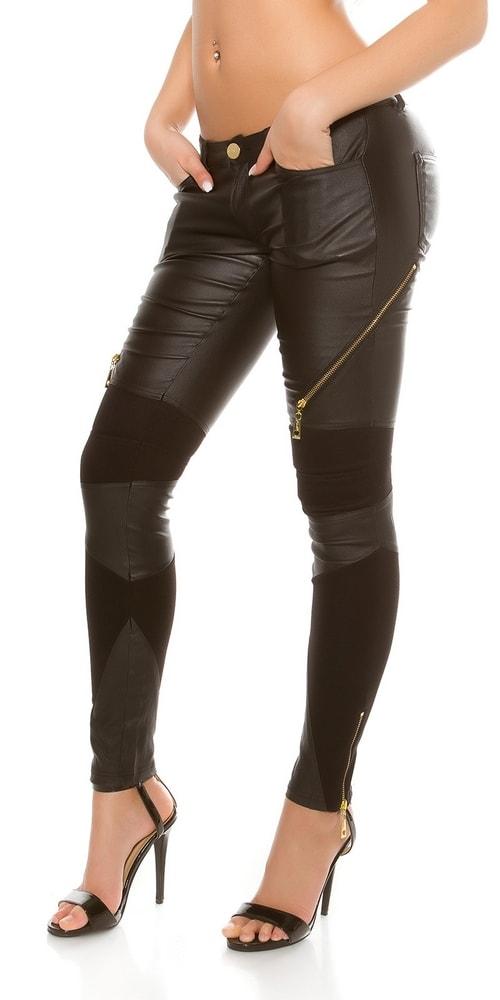 Koženkové čierne nohavice Koucla in-ka1180bl