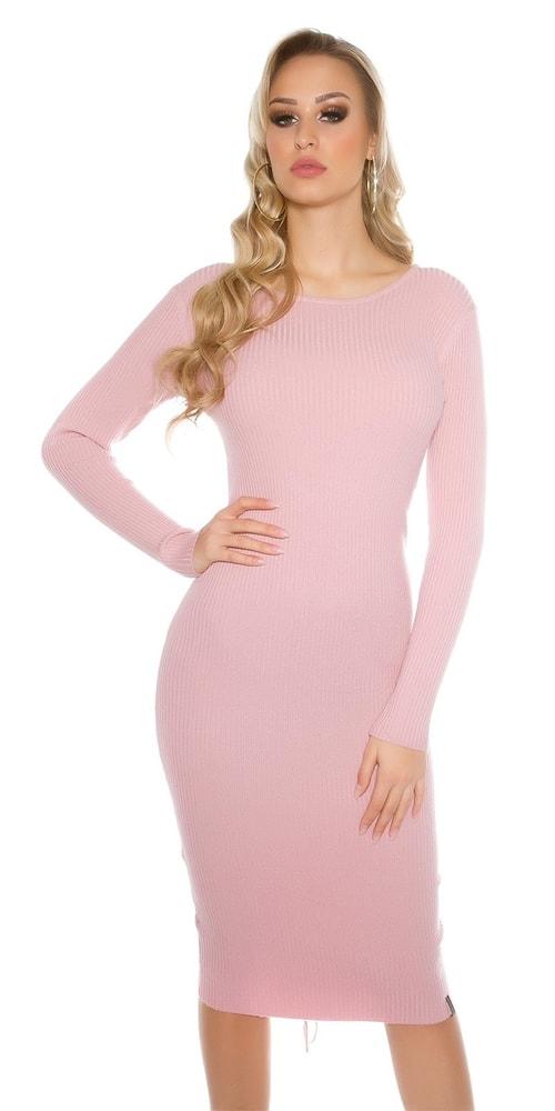 Ružové dámske pletené šaty - S/M Koucla in-sat1415pi