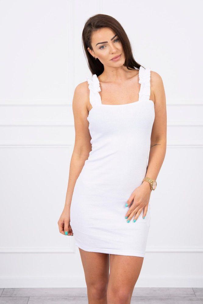 Bílé letní šaty na ramínka Kesi ks-sa9081wh