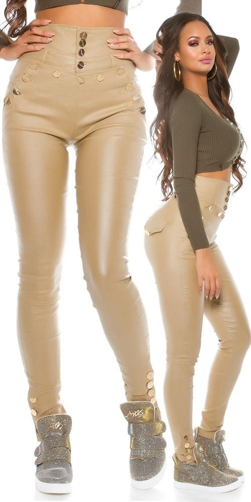 Lesklé nohavice s vysokým pásom Koucla in-ka1127be